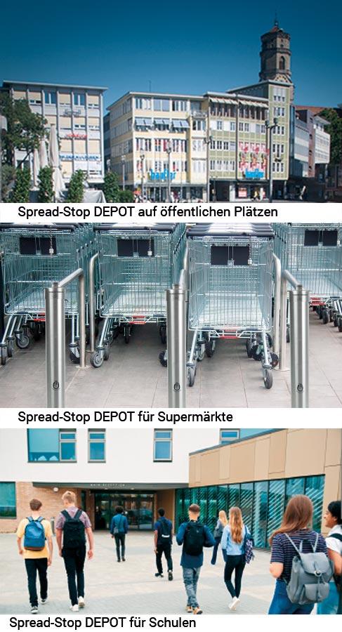 Spread-Stop DEPOT - Desinfektionsmittelspender auf öffentlichen Plätzen, Supermärkte und Schulen