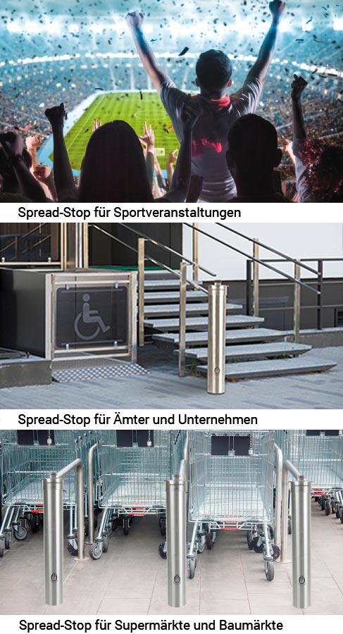 Desinfektionsspender Spread-Stop für Sportveranstaltungen, Ämter, Unternehmen, Super-und Baumärkte